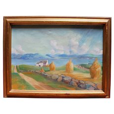 """c.1960 Oil on Canvas, """"Haystacks, Lake Country,"""" by Angus McDougall"""