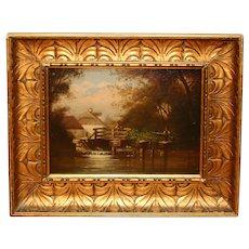 "19th Century Oil on Board ""The Mill Stream"" Dutch"
