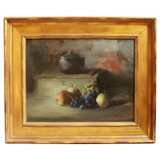 "Contemporary Still Life Oil on Canvas Board ""The Iron Kettle"" by Frank Mason"