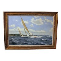 """20th Century Oil Painting """"Summer in the Solent"""" by James Brereton"""