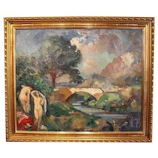 "Post Impressionism Oil Painting on Canvas ""The Bathers"""