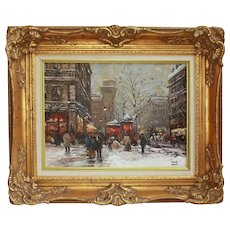 20th Century Oil on Canvas Impressionist Parisian Scene by Robert Lebron