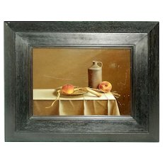 "20th Century Oil on Board ""The 2 Peaches"" by Pierre-Yves Russo"