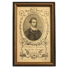 "18th Century Print ""Sir Francis Drake, The Naval History of Great Britain"" by Frederic Hervey"