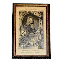 "18th Century Print ""Admiral Russel, The Naval History of Great Britain"" by Frederic Hervey"