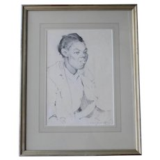 Pencil on Paper Portait Signed By Alfred Heber Hutty
