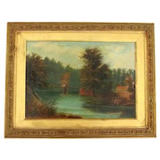 """Late 19th Century Oil on Board Painting """"Welsh Landscape"""" by A.J. Lewis"""