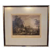 Mid 18th Century Hunting Print by William Woolett After a Painting by George Stubbs
