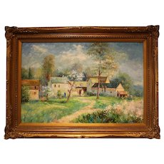 "Mid 20th Century Oil Painting ""Springtime on the Farm"""