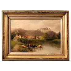 """Mid-late 19th Century Oil on Canvas """"Cows at Windsor"""" by J.D. Morris"""