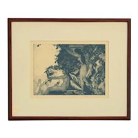 "Early 20th Century Work on Paper Aquatint ""Maenads"" by Arthur Bowen Davies"