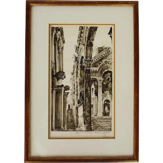 "Mid 20th Century Work on Paper ""Split, Diocletian Palace"" by Kyakovic"