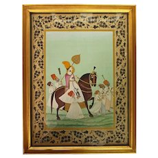 Late 19th - Early 20th Century Traditional Indian Watercolor of Prince on Horse