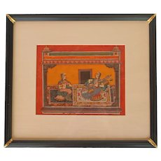 Mid-20th Century Traditional Indian Watercolor of Two Female Musicians