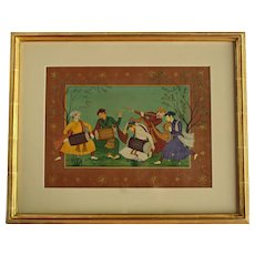 Mid-20th Century Traditional Indian Watercolor of Musicians