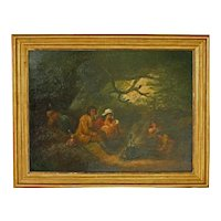 """Late 18th Century Oil Painting """"The Gypsy Family Encampment"""" by George Morland"""