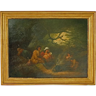 "Late 18th Century Oil Painting ""The Gypsy Family Encampment"" by George Morland"