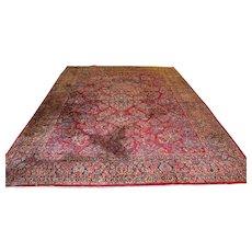 c.1920s Red Sarouk Room Sized Carpet Rug