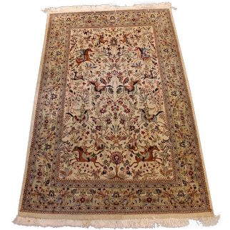 1970's Charming Hunting Tabiz Carpet