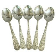 Five teaspoons, sterling silver, Stieff Baltimore Rose.