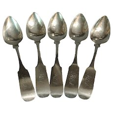 Set of 5 Coin Silver Teaspoons