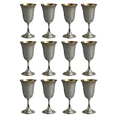 Set of 12 Sterling Silver Goblets