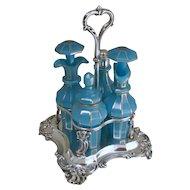 Sterling Silver & Blue Opaline Glass Cruet Set
