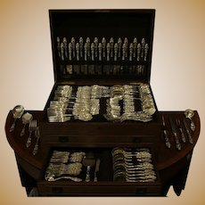 Cased Set of Sterling Flatware: 131 Pieces