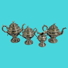 Antique Stebbins & Co. Coin Silver Tea Service Set - Set of 4