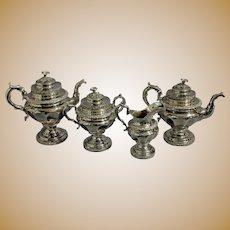 Antique Stebbins & Co. Coin Silver Tea Service Set - Set of 4