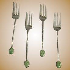 Set of 4 Silver Dessert Spoons