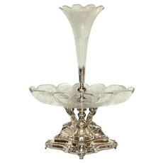 Late 19th Century French Crystal & Silver Epergne Centerpiece