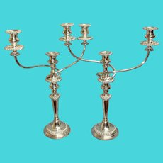 Early 19th Century English Classical Sheffield Plate Candelabras - a Pair