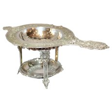 Late 19th Century German Silver Tea Strainer on Stand
