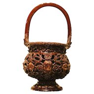 17th Century Italian Brown Glazed Redware Basket