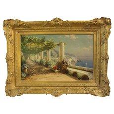 """Contemplation, A View on Capri"", Bernardo Hay Painting"