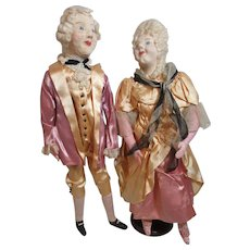 Marvelous Antique Cloth Colonial Couple