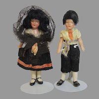 German All Bisque Spanish Brother/Sister Dolls