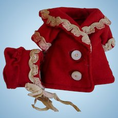 Turkey Red Wool Antique Doll Coat and Bonnet-Tiny