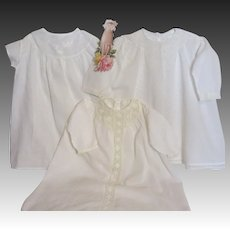 Three Antique Baby Day Gowns