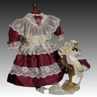 Claret Silk Costume For Your Doll