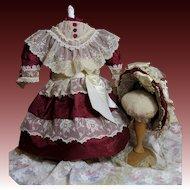 "Claret Silk French Doll Costume-23""-24""  Dolls"