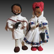 Vintage Black Felt Dolls-Folk Couple