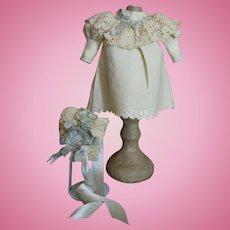 Sweet Antique Wool Doll Dress & Bonnet