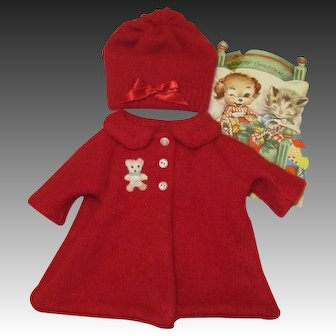 Darlin' Red Angora Coat & Hat For Tiny Tears