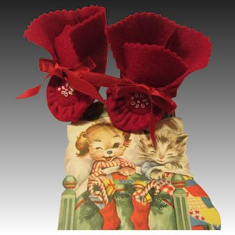 Dy Dee Baby Merry Christmas Booties!  Red Felt