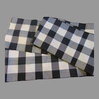 Antique Black/White Check Silk Ribbon-2 Yards