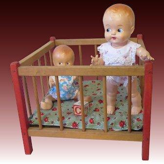 Sturdy Vintage Wooden Doll Playpen