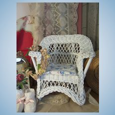 Charming and Chippy Antique Wicker Doll Porch Chair