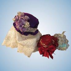 Delightful Purple Silk Doll Bonnet-Easter!